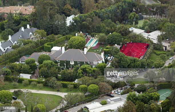 An aerial view is shown of the house where musicians Gwen Stefani and Gavin McGregor Rossdale held a wedding reception September 28, 2002 in Bel Air,...