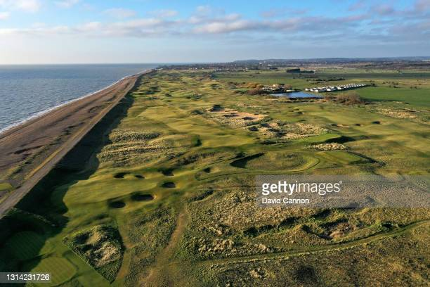 An aerial view looking towards the par 3, eighth hole in the foreground with the par 4, seventh to the left and the par 4. 13th to the right at The...
