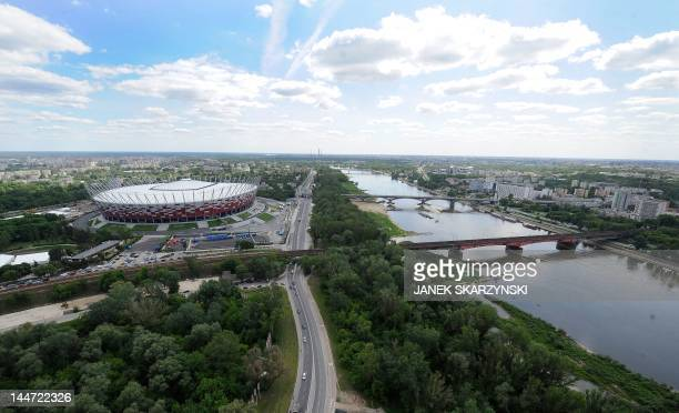 An aerial view made from a helium balloon shows the new National Stadium ready for the Euro 2012 football games in Warsaw on Friday May 18 2012 The...