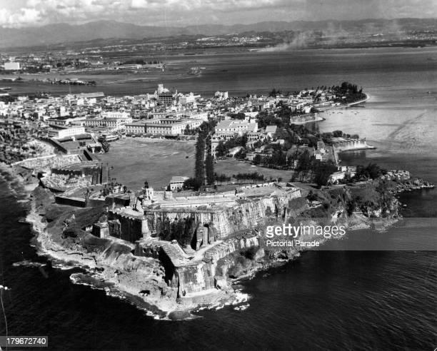 An aerial view of 16th Century Fortress El Morro in San Juan Puerto Rico