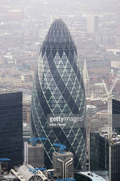An aerial view of 30 St Mary Axe otherwise known as the Swiss Re building or the Gherkin March 25 2007 in London England