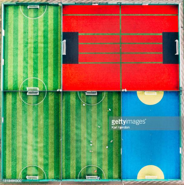 an aerial view of 5-a-side football pitches - stock photo - sports league stock pictures, royalty-free photos & images