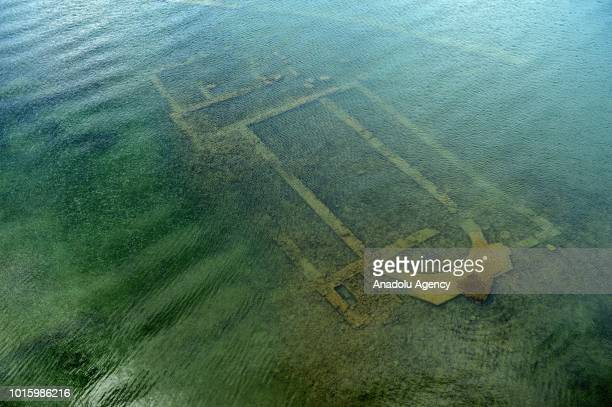 An aerial view of a basilica formed 600 years old Church remain in a 15 to 2 meters depth 20 meters offshore Lake Iznik in Iznik district of Bursa...