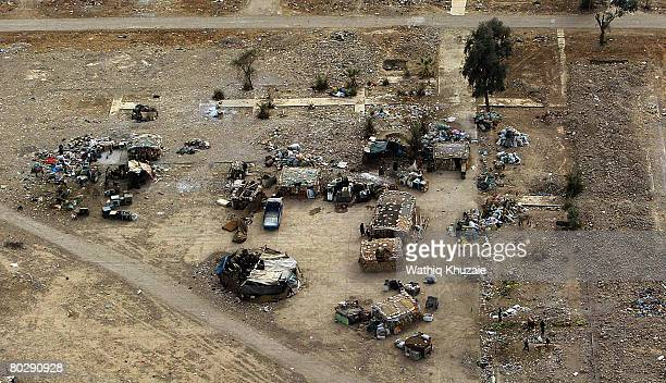 An aerial view of a Bedouin settlement on March 18 2008 in the area around Baghdad Iraq
