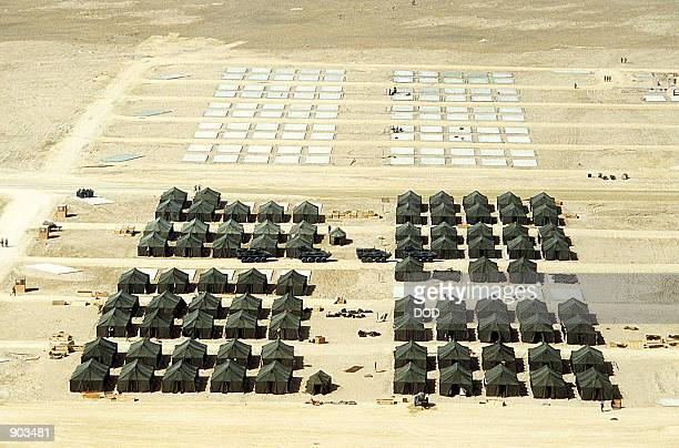 An aerial view of a billeting area at the First Marine Expeditionary Force base camp during Operation Desert Shield