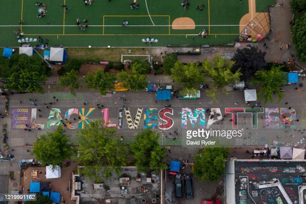 An aerial view of a Black Lives Matter mural on East Pine Street near Cal Anderson Park is seen during ongoing Black Lives Matter events in the...
