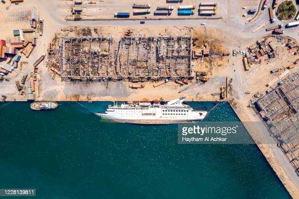 An aerial view of a capsized cruise ship, damaged in the Beirut Port blast, on August 21, 2020 in Beirut, Lebanon. The explosion at Beirut's port...