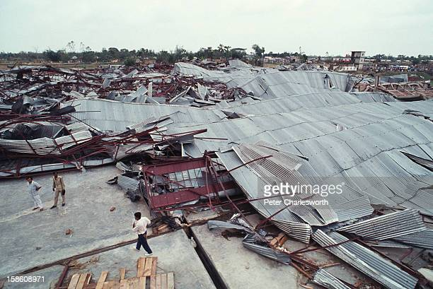 An aerial view of a ceramics factory in Chittagong that was totally destroyed by one of the biggest cyclones to hit Bangladesh in recent decades...