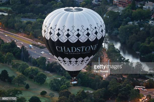 An aerial view of a Chadstone Shopping Centre hot air balloon flying above inner city parkland on February 13, 2018 in Melbourne, Australia.