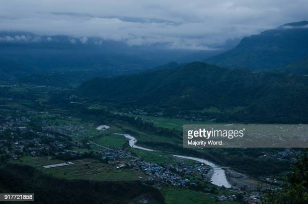 An aerial view of a cloudy Pokhra Nepal
