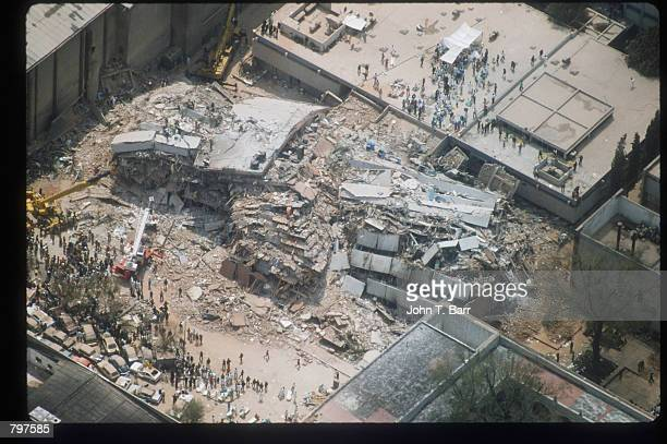 An aerial view of a collapsed building is on display September 20 1985 in Mexico City Mexico An earthquake registering 81 on the Richter scale hit...