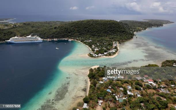 An aerial view of a cruise ship docked on December 07 2019 in Port Vila Vanuatu Tourism is a mainstay of the economy and was impacted by Cyclone Pam...