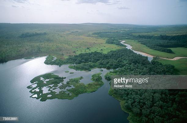 an aerial view of a delta at bateke national park - gabon stock pictures, royalty-free photos & images