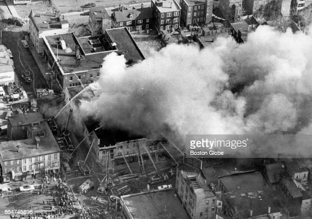An aerial view of a fire at Blinstrub's a South Boston nightclub Feb 7 1968