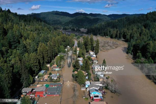 An aerial view of a flooded neighborhood on February 28 2019 in Guerneville California The Russian River has crested over flood stage and is now...