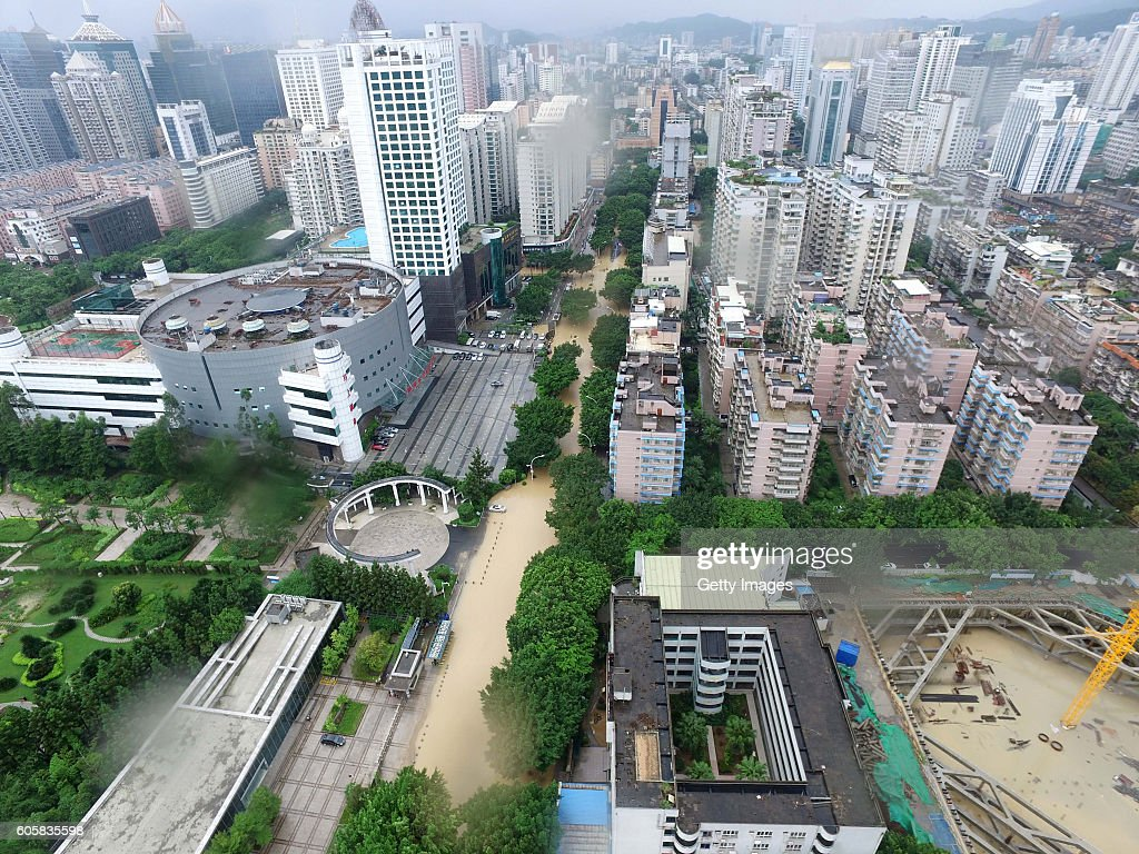 An aerial view of a flooded road after Typhoon Meranti hit on September 15, 2016 in Fuzhou, Fujian Province of China. Typhoon Meranti made landfall in Xiamen at 3:05 a.m on Thursday and caused damage in Fujian.