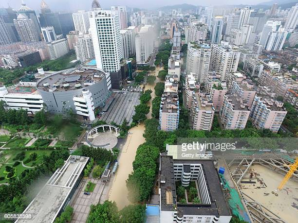 An aerial view of a flooded road after Typhoon Meranti hit on September 15, 2016 in Fuzhou, Fujian Province of China. Typhoon Meranti made landfall...