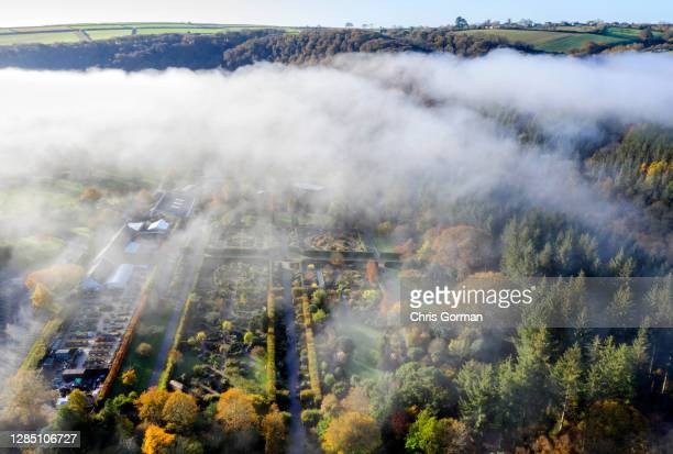 An aerial view of a foggy morning at RHS Garden Rosemoor on November 4,2020 in Rosemoor, England. The gardens will stay open during lockdown for...