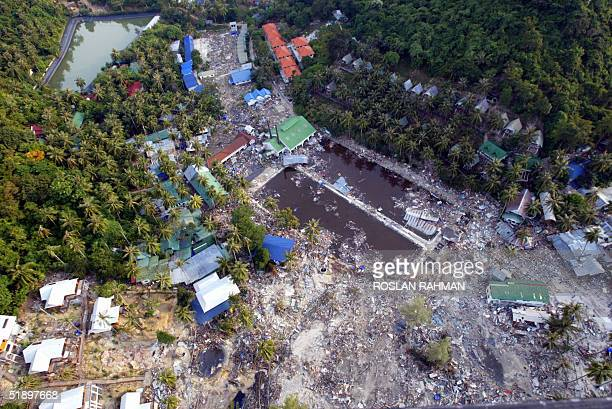 An aerial view of a holiday resort on the devastated Phi Phi island in southern Thailand 28 December 2004 Over 1430 people were killed among them...
