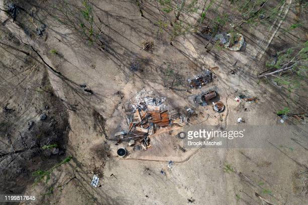 An aerial view of a home burnt out by fire in Wytaliba on January 14 2020 in Wytaliba Australia On the afternoon of November 8 firestorms ripped...