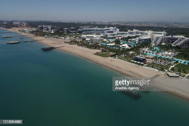 An aerial view of a hotel is seen after the circular letter issued by the Ministry of Culture and Tourism of Turkey stating new hygiene and social...