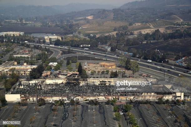 An aerial view of a KMart store that was destroyed by the Tubbs Fire on October 11 2017 in Santa Rosa California At least 21 people have died in...