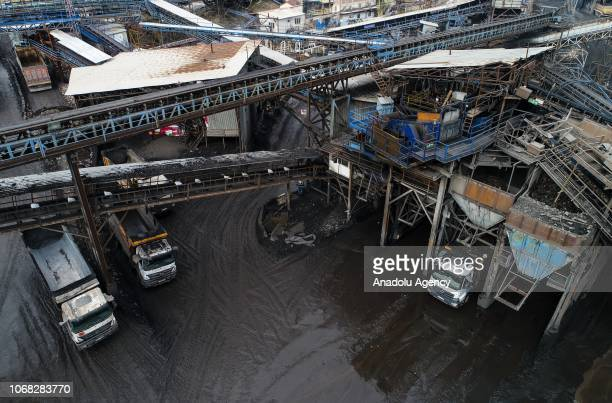 An aerial view of a lignite coal mine quarry is seen in Soma district of Manisa, which is the most significant lignite coal mine resource in Turkey,...