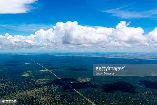 An aerial view of a long straight road running through the African wilderness.