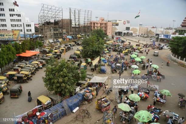 An aerial view of a market outside Patna Junction railway station amid lockdown on June 4 2020 in Patna India