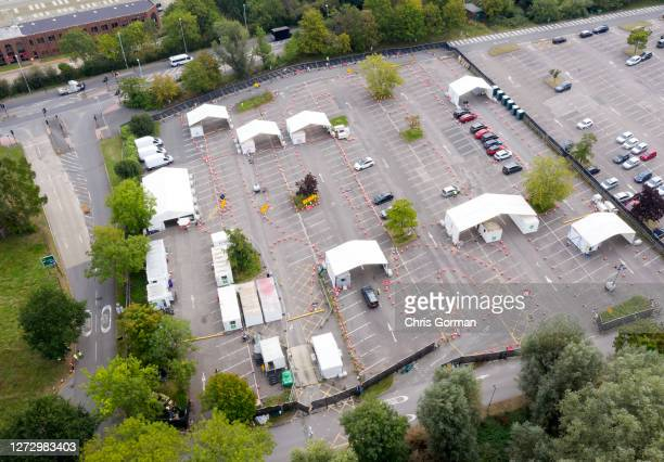 An aerial view of a nearly empty Covid 19 test center on September 16,2020 in Chessington,England.