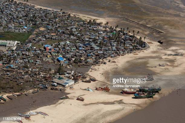 An aerial view of a neighborhood affected by Cyclone Idai on March 24 2019 in Beira Mozambique Thousands of people are still stranded after after...