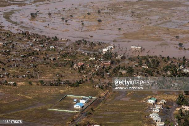 An aerial view of a neighborhood affected by Cyclone Idai on March 24, 2019 in Buzi, Mozambique. Emergency personnel are beginning to deliver aid...