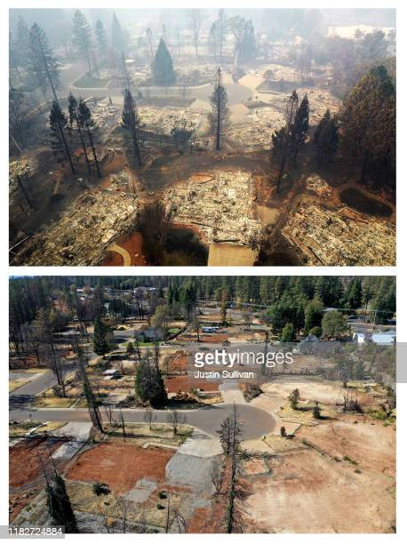 In this beforeandafter composite image **TOP IMAGE** PARADISE CA NOVEMBER 15 An aerial view of a neighborhood destroyed by the Camp Fire on November...
