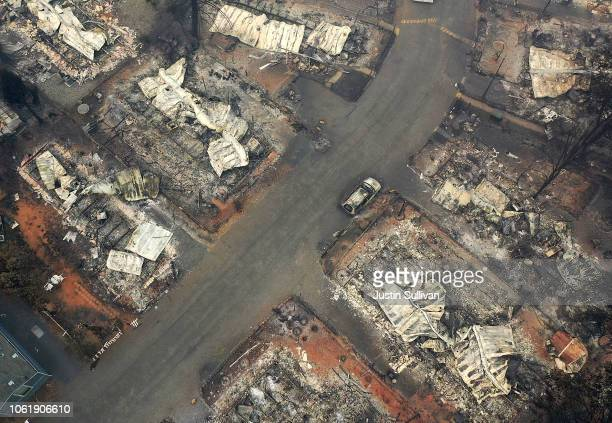 An aerial view of a neighborhood destroyed by the Camp Fire on November 15 2018 in Paradise California Fueled by high winds and low humidity the Camp...