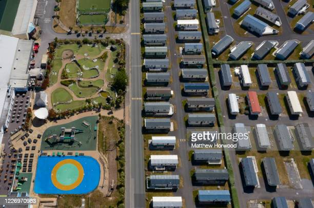 An aerial view of a quiet Trecco Bay holiday park on May 25 2020 in Porthcawl United Kingdom The British government has started easing the lockdown...