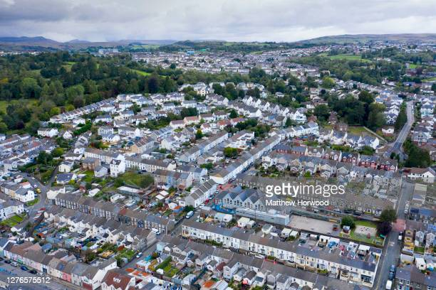 An aerial view of a residential area of Merthyr Tydfil on September 24, 2020 in Merthyr Tydfil, Wales. Four more counties in south Wales went into...