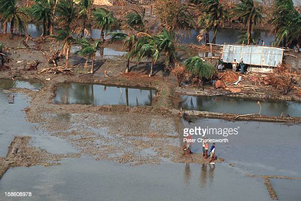 An aerial view of a rural village and the surrounding farmland almost totally devastated by one of the biggest cyclones to hit Bangladesh in recent...