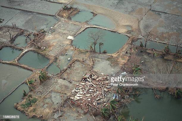 An aerial view of a rural village and the surrounding farmland totally devastated by one of the biggest cyclones to hit Bangladesh in recent decades...