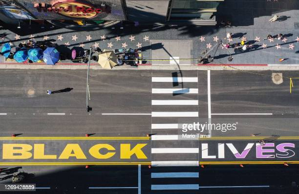 An aerial view of a section of the new permanent 'All Black Lives Matter' mural after it was painted on Hollywood Boulevard on August 28, 2020 in Los...