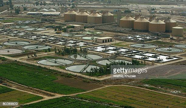 An aerial view of a sewage treatment works on March 18, 2008 in Baghdad, Iraq.