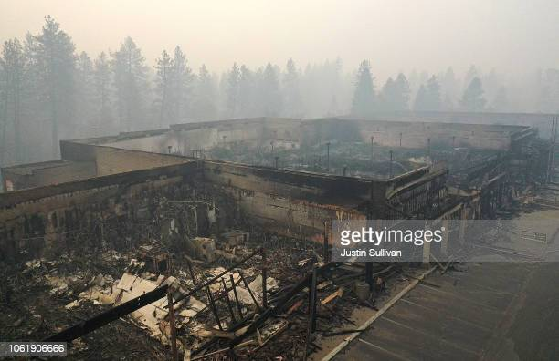 An aerial view of a shopping center destroyed by the Camp Fire on November 15 2018 in Paradise California Fueled by high winds and low humidity the...
