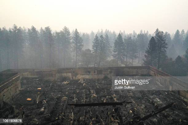 An aerial view of a shopping center destroyed by the Camp Fire on November 15, 2018 in Paradise, California. Fueled by high winds and low humidity...