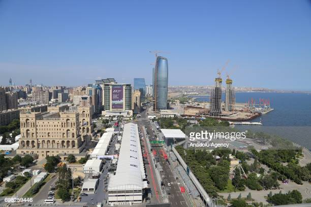 An aerial view of a street after it was pedestrianized and turned into a track ahead of 2017 Formula 1 Azerbaijan Grand Prix which will be held on...