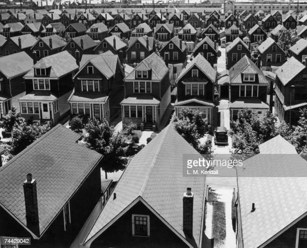 An aerial view of a suburban housing development in Rego Park Queens New York circa 1935