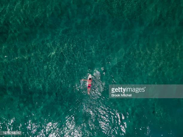 An aerial view of a surfer at Tamarama Sydney The city is set for a scorching start to Summer with temperatures expected to reach 35 degrees on...