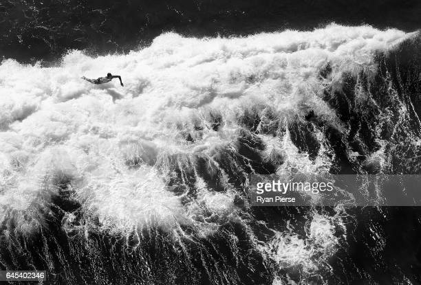 An aerial view of a surfer falling off his board at Bondi Beach on February 23 2017 in Sydney Australia