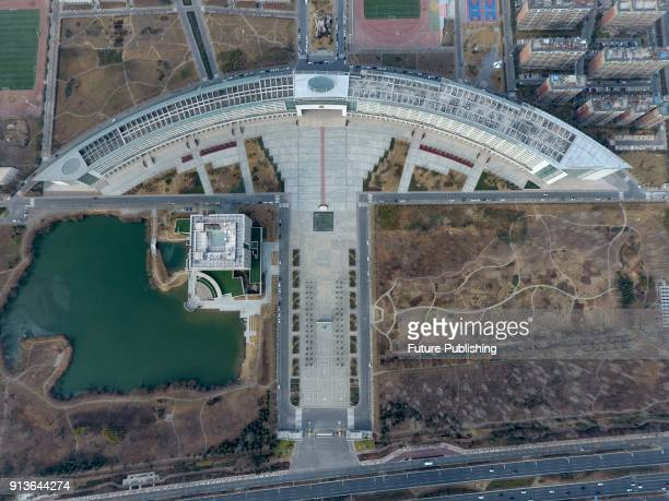 An aerial view of a teaching building more than 700 meters long in a university in Zhengzhou in central China's Henan province Thursday Feb. 01,...