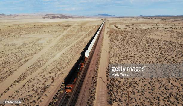 An aerial view of a train passing through the Mojave desert on September 22 2019 near Newberry Springs California California's Fourth Climate Change...
