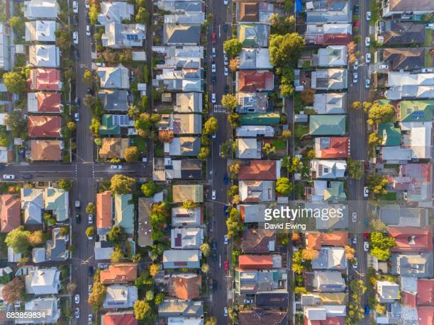 An aerial view of a typical Australian suburb.