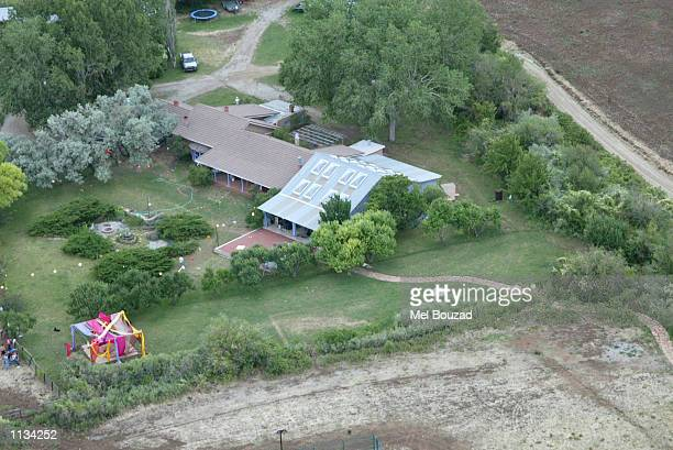 An aerial view of actress Julia Robert's ranch is seen on July 6 2002 in Taos New Mexico Roberts married cameraman Danny Moder during a Fourth of...